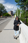 Mali on the Capitol Bridge. South Capitol Boulevard runs north to the Idaho capitol building which is visible in the distance.  Capitol buildings are usually among the first sites we visit b ...